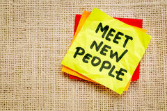 Meet new people reminder note Stock Photography