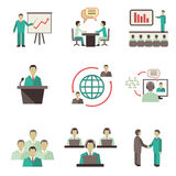 Meet people online icons set Royalty Free Stock Photo