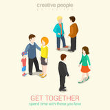 Meet people you love spend time flat 3d web isometric concept Stock Images