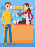 Meet the seller with the buyer for the store counter Stock Photos