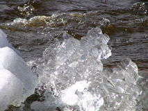 We meet spring. Spring ice on the river Stock Photos