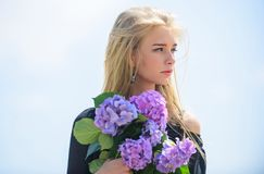 Meet spring with fresh bouquet. Flowers tender fragrance. Celebrate spring with bouquet. Bouquet for girlfriend. Fashion. And beauty industry. Girl tender royalty free stock photos