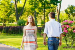 Meet young woman and man Royalty Free Stock Photo