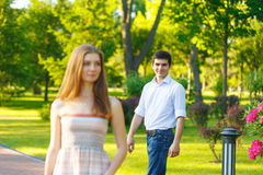 Meet young woman and a man Stock Image