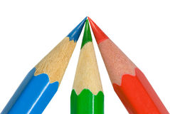 Meeting. Three sharp color pencils (on a white background Stock Illustration