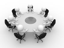 Meeting. 3d people  - human character, person at the conference table. Meeting. 3d render illustration Royalty Free Stock Photo