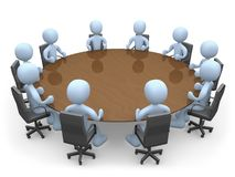 Meeting. 3d people in a round table having a meeting Royalty Free Stock Photos