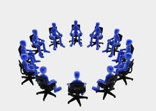 Meeting. Twelve 3d figures sitting in a circle, blue over white background Stock Image