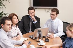 At the meeting. Group of business people working on project royalty free stock photos