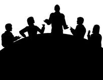 Meeting. Editable vector silhouette of a business meeting with each figure as a separate object Stock Photography