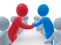 Meeting. Two sides sitting behind negotiation table. Red and blue person shaking hands. Concept of business or political agreement or meeting of two sides Stock Image
