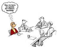 Meeting Agenda. Business cartoon about a boss who finally has a meeting agenda vector illustration