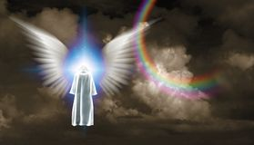 Meeting with the Angel. Surrealism. Figure in white cloak stands before shining light with white angel`s wings. Human elements were created with 3D software and vector illustration