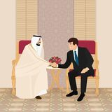 Meeting of Arab and European businessmen or politicians stock illustration