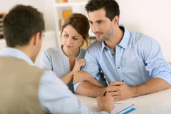 Meeting with architect for new house royalty free stock photos