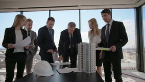 Meeting of architects and investors stock video