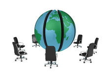 Meeting around the world. One 3d render of a globe divided into segments with armchairs all around it stock illustration