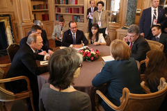 Meeting on ASEM summit of European and Asian leaders. MILAN, ITALY - Oct 17, 2014: President Ukraine Poroshenko, German Chancellor Merkel, French President stock photography