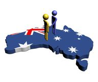 Meeting on Australia map flag. Abstract people shaking hands on Australia map flag illustration Royalty Free Stock Photo