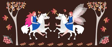 Meeting in the autumn forest of two fairy horsewomen on unicorns.  royalty free illustration