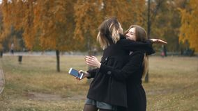 Meeting in the autumn park. Slow motion. A young girl is standing in the park and is looking at the phone stock footage
