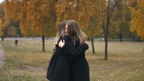Meeting in the autumn park. Slow motion. A young girl is standing in the park and is looking at the phone stock video