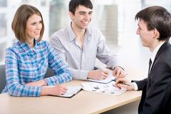 Meeting in the bank Royalty Free Stock Photo