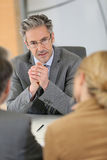 Meeting with a banking consultant stock image