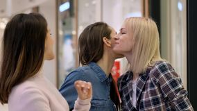 Meeting with best friends in the shopping mall. Meeting with best friends during big shopping in the shopping mall stock video
