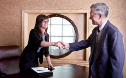 Meeting the big boss stock images