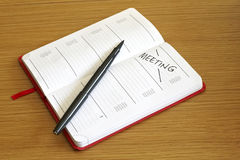 Meeting booked into diary stock photography