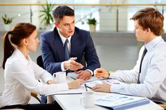 Meeting with boss Stock Images
