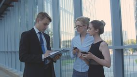 Meeting Business colleagues in the Office Corridor royalty free stock photography