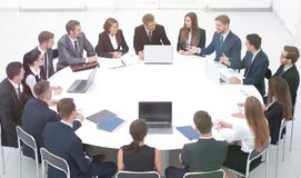 Meeting business partners in the conference room. royalty free stock photo