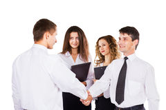 Meeting of business partners handshake. Group of successful businessmen. Royalty Free Stock Photo