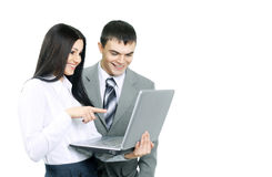 Meeting business partners with a laptop on  white background Royalty Free Stock Images