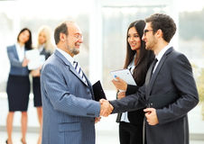 Meeting business partners in the office. Before presentation Stock Photo