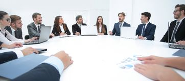 Meeting business partners for round - table Stock Image