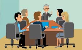 Meeting, businessmen, men women in business suits stock illustration