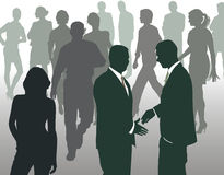 Meeting at a busy square, vector illustration. Silhouettes of people at the forefront of meeting the two men, vector illustration Stock Photography