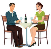 Meeting in the cafe. Young girl and young man sitting in a cafe and drinking wine Royalty Free Stock Photos