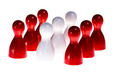 Meeting Canada. Meeting in Canada symbolized by the national flag built of wooden figures, isolated Stock Photography
