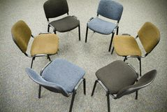 Meeting chair. Group of chairs arranged in a circle for a meeting royalty free stock images