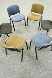 Meeting chair. Group of chairs arranged in a circle for a meeting royalty free stock image