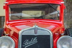 Meeting of classic cars. Front closeup of an old Fiat Balilla car Royalty Free Stock Images