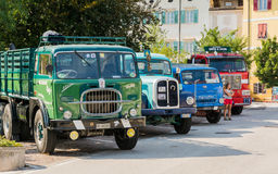 Meeting of classic cars. Old vintage truck on the parking Stock Image