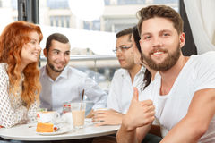 Meeting of colleagues after work. In cafe Stock Photo