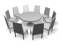 Meeting concept illustration with chairs and round table isolated Stock Photography