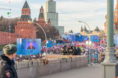 The meeting and concert in honor of the anniversary of the reunification of the Crimea and Russia. Royalty Free Stock Images