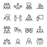 Meeting & conference icon set in thin line. Meeting & conference icon set in thin line style Stock Photography